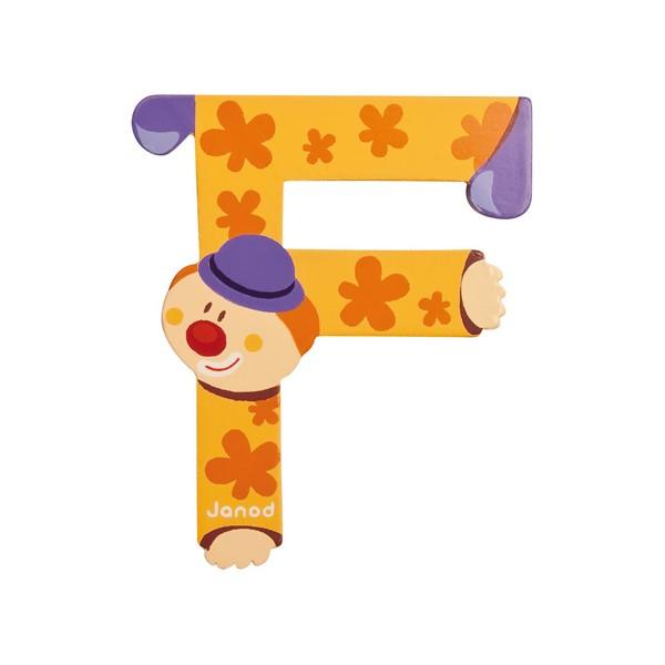 Lettre en bois clown janod f - Lettre decorative en bois ...