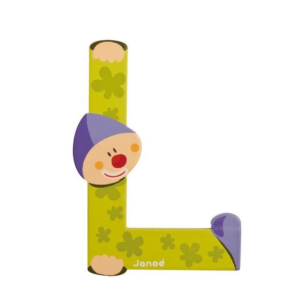 Lettre en bois clown janod l - Lettre decorative en bois ...