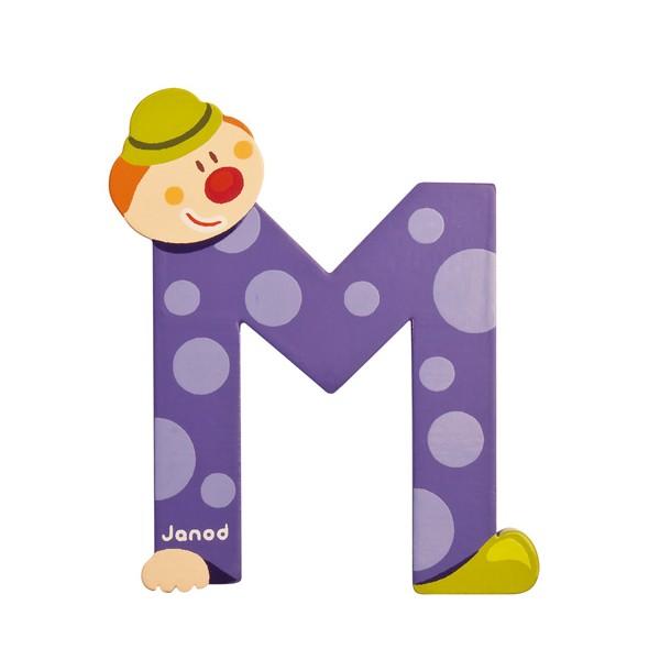 Lettre en bois clown janod m - Lettre decorative en bois ...