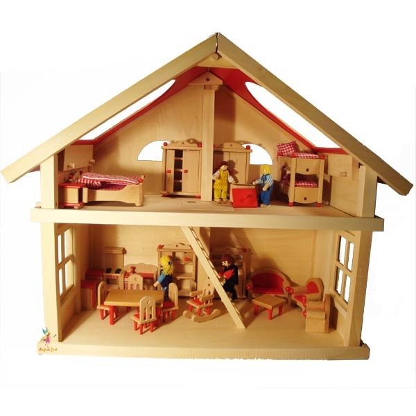 maison de poup es 2 tages goki j11198 la f e du jouet. Black Bedroom Furniture Sets. Home Design Ideas