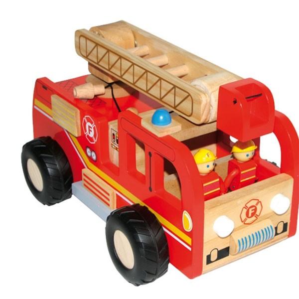 camion de pompier en bois et ses 2 figurines la f e du jouet. Black Bedroom Furniture Sets. Home Design Ideas