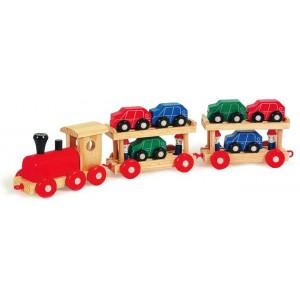 train pour transport de voitures train en bois la f e du jouet. Black Bedroom Furniture Sets. Home Design Ideas