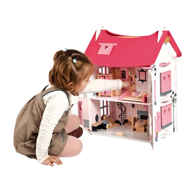 maison de poup es en bois mademoiselle par janod la. Black Bedroom Furniture Sets. Home Design Ideas