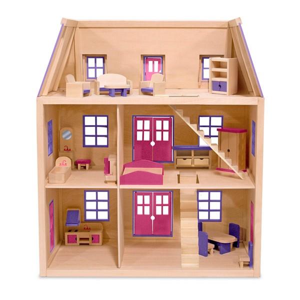 maison de poup es en bois 3 niveaux la f e du jouet. Black Bedroom Furniture Sets. Home Design Ideas